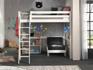 Vipack Hochbett weiß, 140 x 200 cm inkl. Sesselbett und Regal mit zwei Fächern