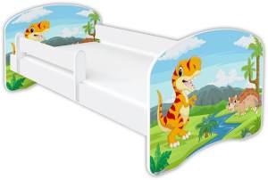 Clamaro 'Schlummerland Dinosaurier' Kinderbett 80x160 cm, Design 2, inkl. Lattenrost, Matratze und Rausfallschutz (ohne Schublade)