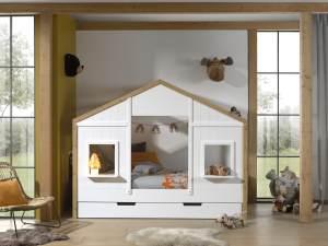 Vipack 'BABS' Landhausbett 90 x 200 cm, Oak/Weiß, inkl. Lattenrost und Bettschublade, teilmassiv Kiefer
