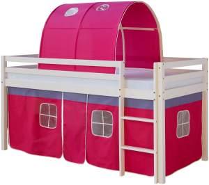 Hochbett Spielbett Kinderbett Leiter Vorhang rot 90x200 Jugendbett Kiefer