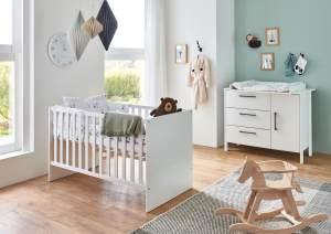 Arthur Berndt 'Kiara' Babyzimmer Sparset 2-teilig, Kinderbett (70 x 140 cm) und Wickelkommode mit Wickelaufsatz Weiß
