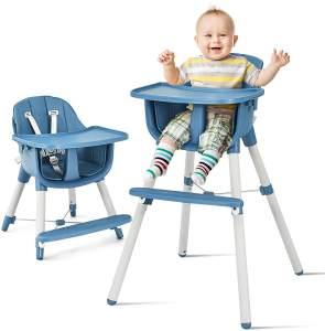 COSTWAY 3 in 1 Babyhochstuhl mit Fussstütze, Hochstuhl & Essstuhl & Kinderhocker hoehenverstellbar, Kinderhochstuhl mit Sicherheitsgurt und abnehmbares Tablett, Babystuhl, Kombihochstuhl