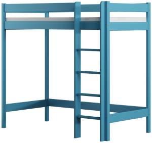 Kinderbettenwelt 'Luca' Hochbett 90x200 cm, blau, Kiefer massiv, inkl. Matratze und Lattenrost