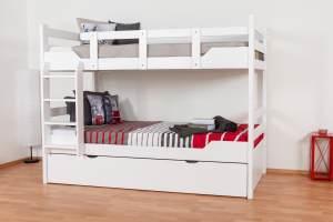 Stockbett für Erwachsene'Easy Premium Line' K12/h inkl. Liegeplatz und 2 Abdeckblenden, Kopf- und Fußteil gerade, Buche Vollholz massiv Weiß - 90 x 200 cm (B x L), teilbar