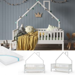 VitaliSpa 'Noemi' Hausbett weiß, 70x140cm, Massivholz Kiefer, inkl. Matratze, Lattenrost und Rausfallschutz