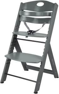 BabyGO 'Family XL' Hochstuhl, grau, Buche massiv, höhenverstellbar, inkl. Gurt und Sicherheitsbügel