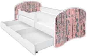 Clamaro 'Schlummerland Dekor' Kinderbett 80x180 cm, Design 4, inkl. Lattenrost, Matratze, Rausfallschutz und Schublade