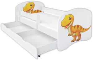 Clamaro 'Schlummerland Dinosaurier' Kinderbett 70x140 cm, Design 9, inkl. Lattenrost, Matratze, Rausfallschutz und Schublade