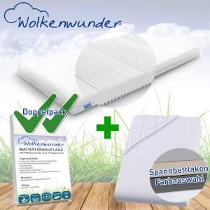 Wolkenwunder 'Multi' Matratze, mittlere Härte, 100x200 cm, inkl. 2 Hygieneauflagen & 1 Spannbettlaken, hellgrau