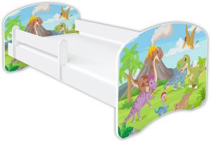Clamaro 'Schlummerland Dinosaurier' Kinderbett 80x160 cm, Design 7, inkl. Lattenrost, Matratze und Rausfallschutz (ohne Schublade)