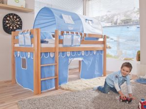 Relita Halbhohes Spielbett ALEX Buche massiv natur lackiert mit Stoffset blau/boy