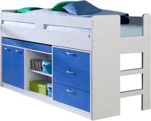 Relita 'Bonny' Stauraum-Hochbett, Blau, 90x200 cm, inkl. Rollrost, mit Schreibtisch und 3 Schubladen