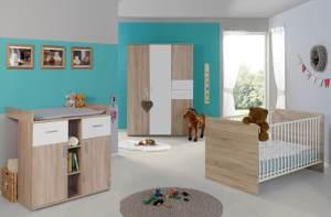 3-tlg. Babyzimmer-Set 'ELISA 3' Eiche Sonoma / Weiß