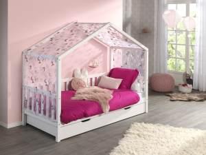 Vipack 'Dallas 1' Hausbett 90 x 200 cm, weiß, mit Bettschublade und Textilhimmel