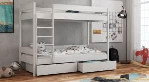 Etagenbett 'Donald' 80x160cm, weiß, mit Lattenrosten und Materatzen