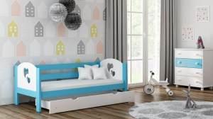 Kinderbettenwelt 'Felicita F3' Kinderbett 80x160 cm, Blau, inkl. Matratze und Rausfallschutz
