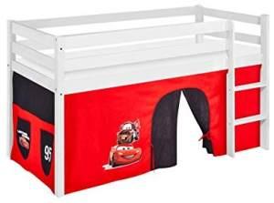 Lilokids 'Jelle' Spielbett 90 x 200 cm, Disney Cars, Kiefer massiv, mit Vorhang