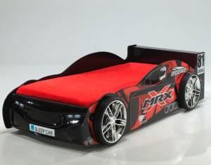 MRX Autobett Kinderbett Spielbett Bett 90x200 cm Schwarz, inkl. Matratze Softdeluxe