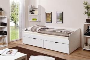 Ticaa 'Micki' Sofabett 90 x 200 cm, Kiefer massiv weiß, inkl. Schubladen 'Melanie'