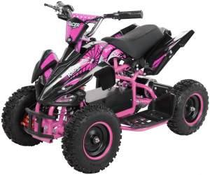Elektro Quad Miniquad Kinder Racer 1000 Watt Pocket Kinderquad Pocketbike ATV (Schwarz/Pink)