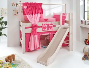 Relita 'LEO' Hochbett mit Rutsche White Wash, Stoffset Pink/Herz mit Matratze