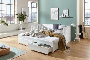 Relita Bett Einzelbett Kick Kinderbett Weiß 90x200cm mit Auszugsfunktion