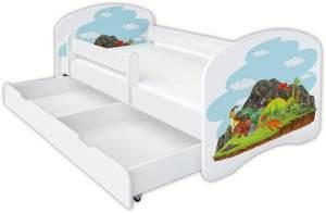Clamaro 'Schlummerland Dinosaurier' Kinderbett 70x140 cm, Design 5, inkl. Lattenrost, Matratze, Rausfallschutz und Schublade
