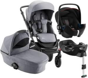 Britax Römer 'Smile III' Kombikinderwagen4plusin1 Frost Grey/Cool Flow Black, inkl. Kinderwagenaufsatz, Britax Babyschale mit Base