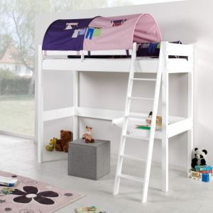 Relita 'RENATE' Multifunktionsbett mit Schreibtisch weiß, Stoffset Rosa/Lila inkl. Matratze