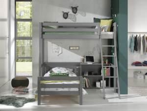 Vipack Winkel Hochbett mit 2 Liegeflächen 90 x 200 cm und Regal, Ausf. grau lackiert