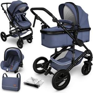 KIDUKU Kombikinderwagen 4plusin1 Blau/Schwarz inkl. Sitz, Babywanne, Babyschale, Wickeltasche, Wetterschutz