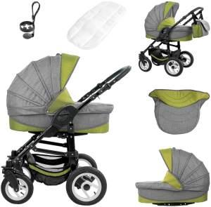 Bebebi Florenz | Hartgummireifen in Weiß | 3 in 1 Kombi Kinderwagen | Farbe: Medici Green Black
