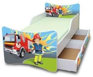 Best for Kids 'Feuerwehr' Kinderbett inkl. Schaummatratze und zwei Schubladen 90 x 200 cm