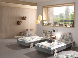Vipack Modulo Art. Set best. aus 2 Einzelbetten/Stapelbetten je 90 x 200 cm Liegefläche, grau lackiert, Fuß Smileystern-Optik Kiefer natur lackiert