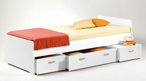Stella Trading Boro Bett 90 x 200 cm, Holz, Weiß, 204 x 95 x 66 cm