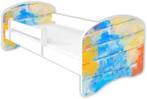 Clamaro 'Schlummerland Dekor' Kinderbett 80x160 cm, Design 20, inkl. Lattenrost, Matratze und Rausfallschutz (ohne Schublade)