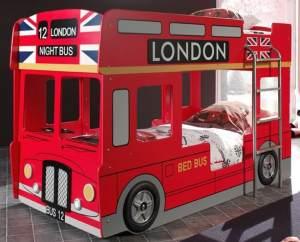London Etagenbett Doppelbett Hochbett Bett Bettgestell 90x200 cm Rot, inkl. Matratze Soft