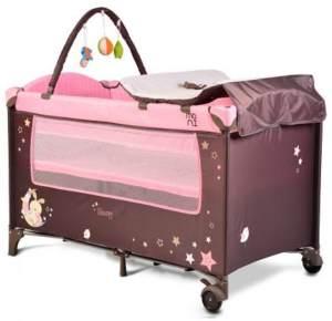 Moni Reisebett Sleepy Rollen, Wickelauflage, Matratze, Spielbogen, Seiteneingang rosa pink