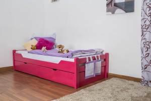 Kinderbett/Jugendbett'Easy Premium Line' K1/1n inkl 2 Schubladen und 2 Abdeckblenden, 90 x 200 cm Buche Vollholz massiv Rosa