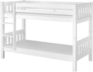 Erst-Holz 60.06-09 Etagenbett 90x200 cm, weiß, Kiefer massiv, inkl. Rollroste und Matratzen