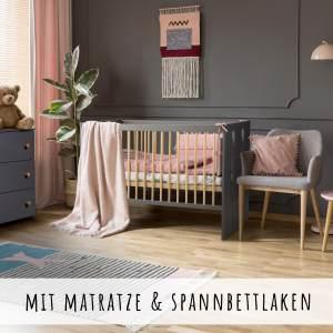 Babybett Kinderbett Gitterbett 60x120 mit Matratze hhenverstellbar & herausnehmbare Sprossen | Beistellbett grau sehr stabil maximale Sicherheit Made in Europe