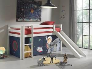 Pino Hochbett 2 Weiß lackiert 90x200 cm Spaceman, inkl. Matratze Softdeluxe