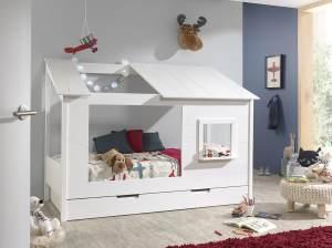 Vipack 'Baumhaus' Kinderbett 90 x 200 cm, Weiß, inkl. Bettschublade