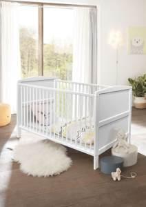 Bega 'Maiken' Babybett inkl. Lattenrahmen + 3 Schlupfsprossen + Umbauseiten Kiefer massiv weiß
