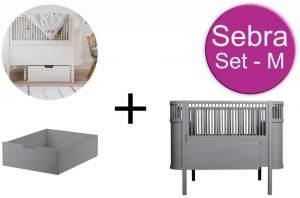 Sebra Baby & Juniorbett mit Schublade Set-M Classic Grey