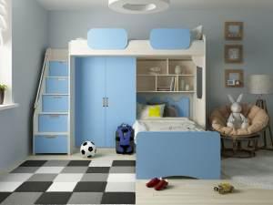 Etagenbett 'Geko' blau