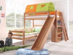 Relita 'SKY' Etagenbett mit Rutsche natur, inkl. Stoffset Grün/Orange mit zwei Matratzen