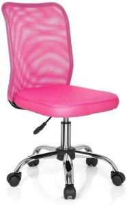 hjh OFFICE 685974 Kinder-Drehstuhl KIDDY NET Stoff/Netz Pink Kinderschreibtischstuhl mitwachsend, ohne Armlehnen