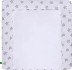 LULANDO Wickelauflage mit 2 abnehmbaren und wasserundurchlässigen Bezügen 76x76 cm - Weiß/Graue Sterne