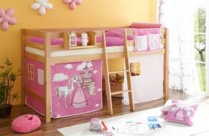 Ticaa Hochbett Tipsi Buche Natur - Horse Pink